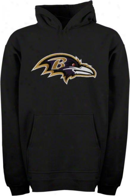 Baltimore Ravens Youth Black Big Logo Hooded Sweatshirt