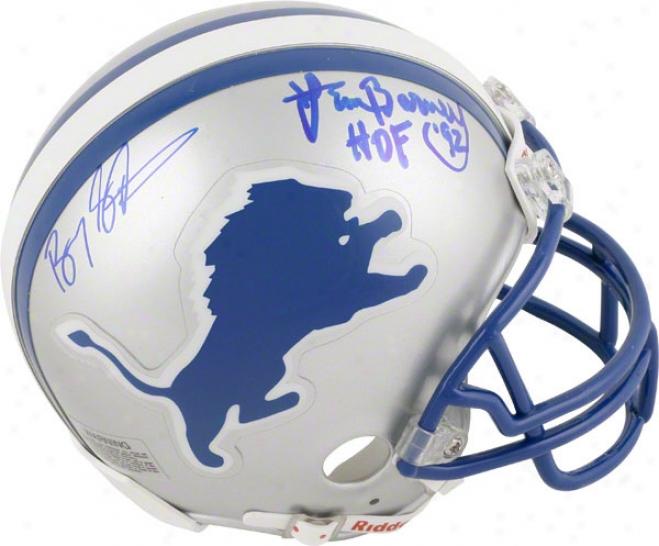 Barry Sanders And Lem Barney Detroit Lions Dual Autographed Mini Helmet