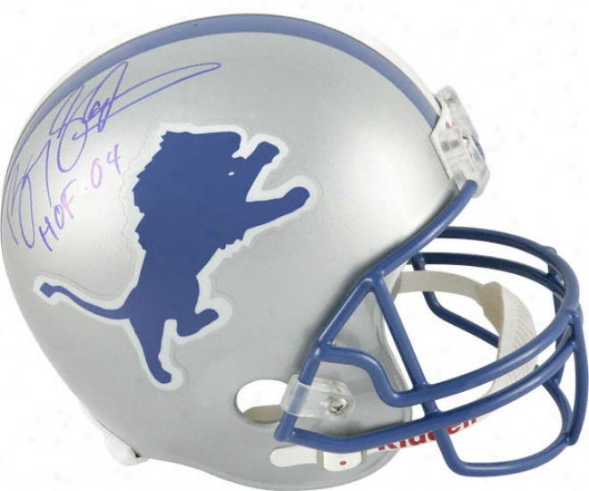 Barry Sanders Autographed Helmet  Details: Detroit Lions, Riddell Replica Helmet, Hof04 Inscription
