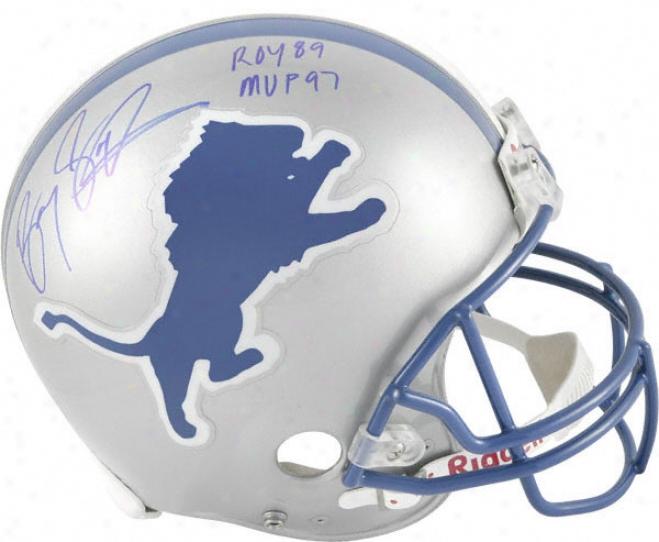 Barry Sanders Auographed Pro-line Helmet  Details: Detroit Lions, Authentic Riddell Helmet, 89 Roy And 97 M\/p
