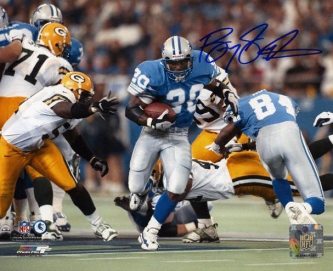 Barry Sanders Detroit Lions Action Running 8x10 Autographed Photograph Vs. Packers