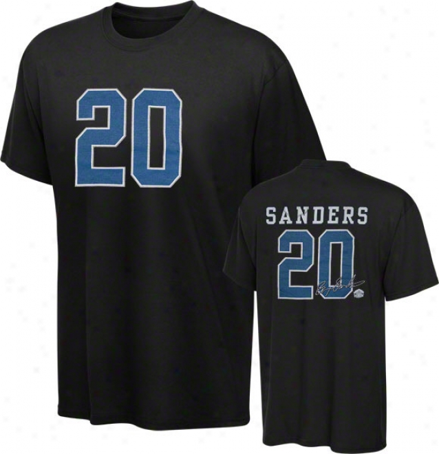 Barry Sanders Detroit Lions Black Hall Of Rumor Name & Number Tee