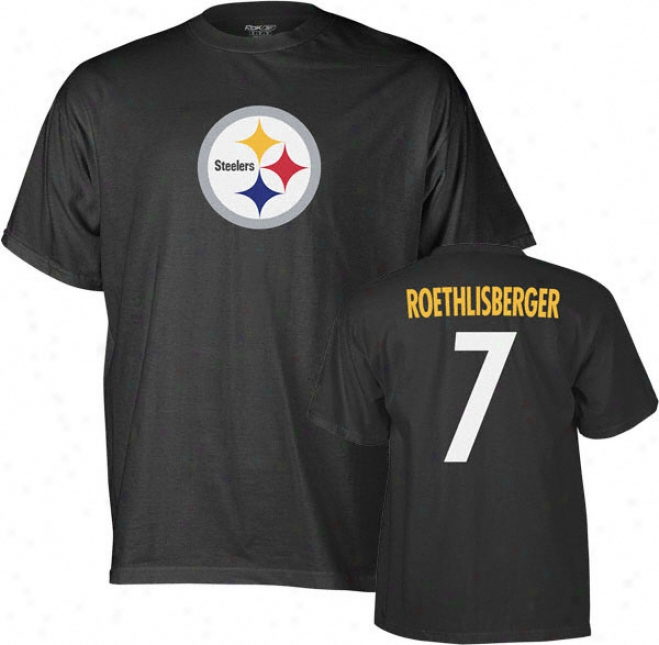 Ben Roethlisbergger Reebok Name And Number Pittsburgh Steelers T-shirt