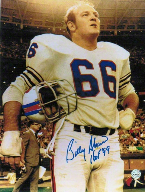 Billy Shaw Autographed Bufffalo Bills 8x10 Photo Inscribed &quothof 99&quot