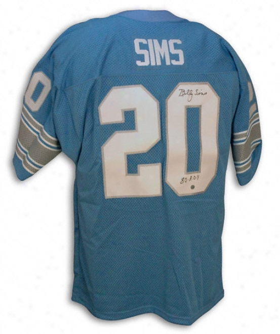 Billy Sims Autographed Blue Throwback Jersey With ''foy 80'' Inwcriptiln