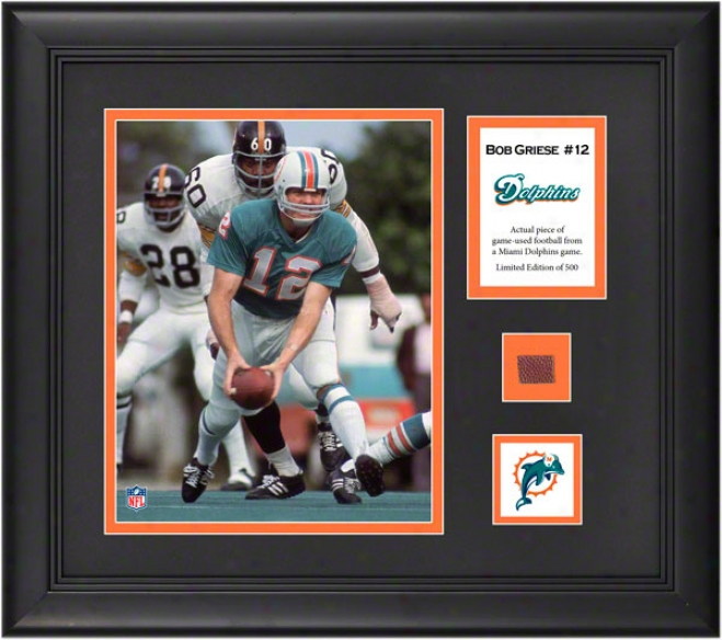 Bob Griese Framed 8x10 Photograph  Details: Miai Dolphins, With Game-used Football Part And Descriptive Plate