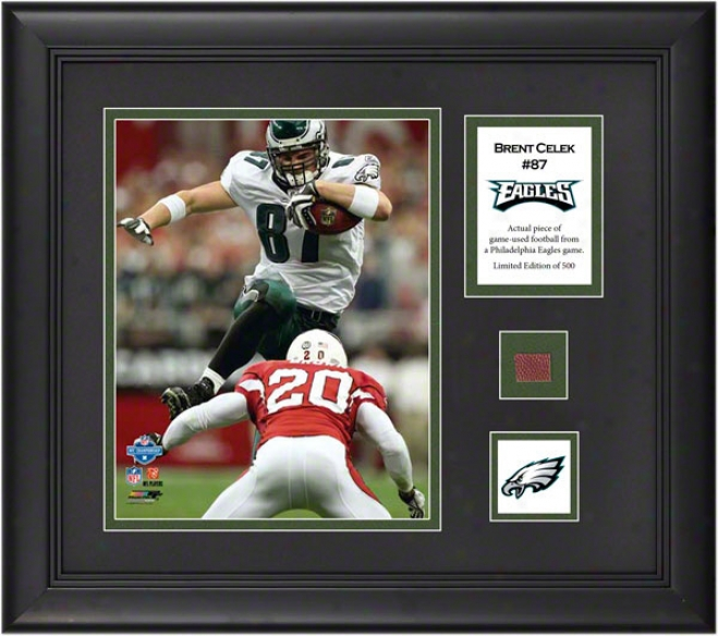 Brent Celek Framed 8x10 Photograph  Details: Philadelphia Eagles, With Game-used Football Piece And Descriptive Plate