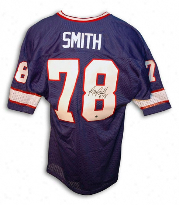 Bruce Smith Autographed Throwback Blue Jersey