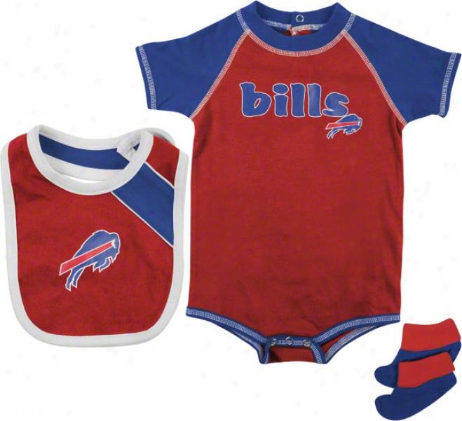 Buffalo Bills Infant Creeper, Bib, And Bootie Set