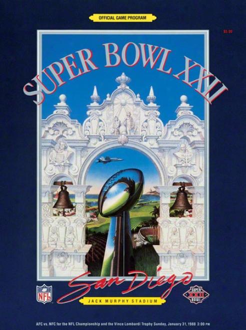 Canvas 22 X 30 Super Bowl Xxii Program Print  Details: 1988, Redskins Vs Broncos