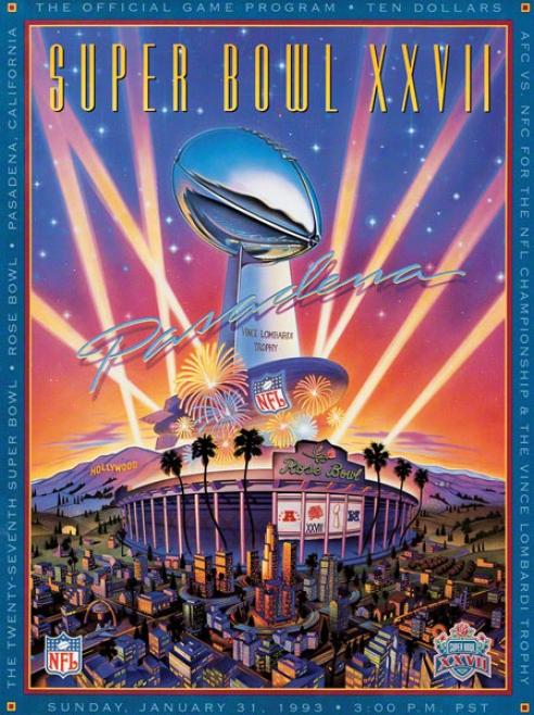Canvas 22 X 30 Super Bowl Xxvii Program Print  Details: 1993, Cowboys Vs Bills