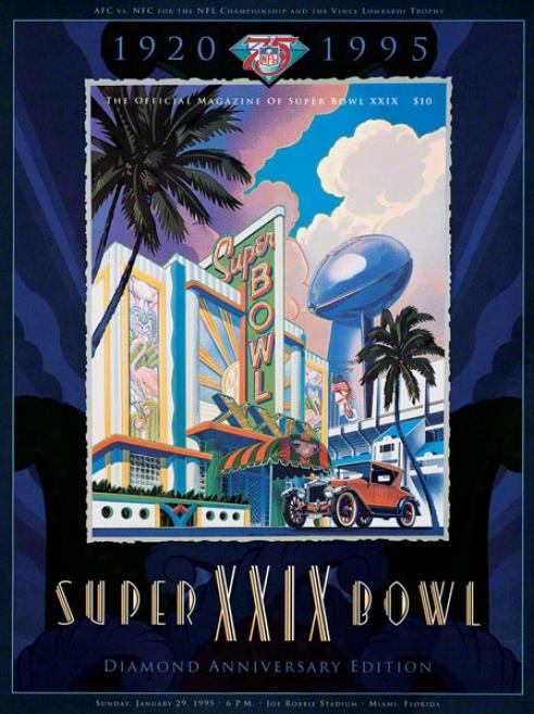Canvas 36 X 48 Super Bowl Xxix Program Print  Details: 1995, 49ers Vs Chargers