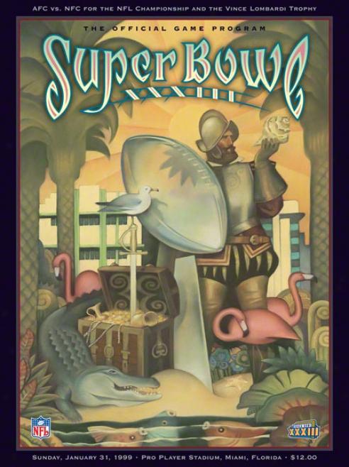 Canvas 36 X 48 Super Bowl Xxxiii Program Print  Details: 1999, Broncos Vs Falcons