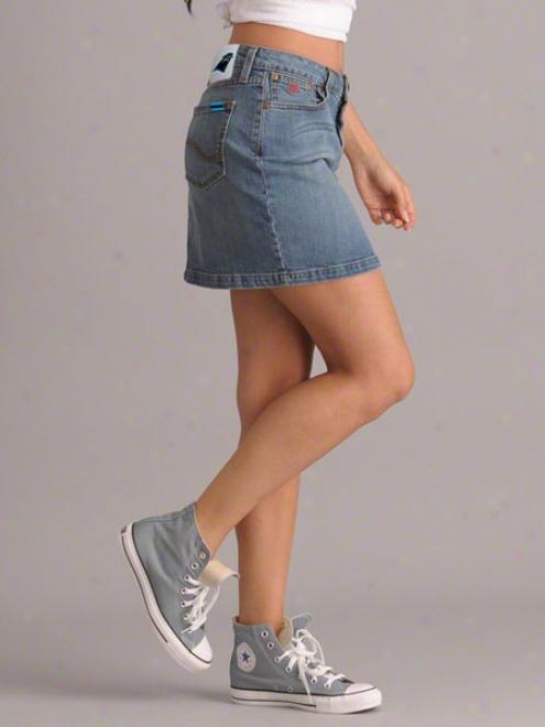 Carolina Pantgers Women's Medium Wash Blitz Denim Mini Skirt