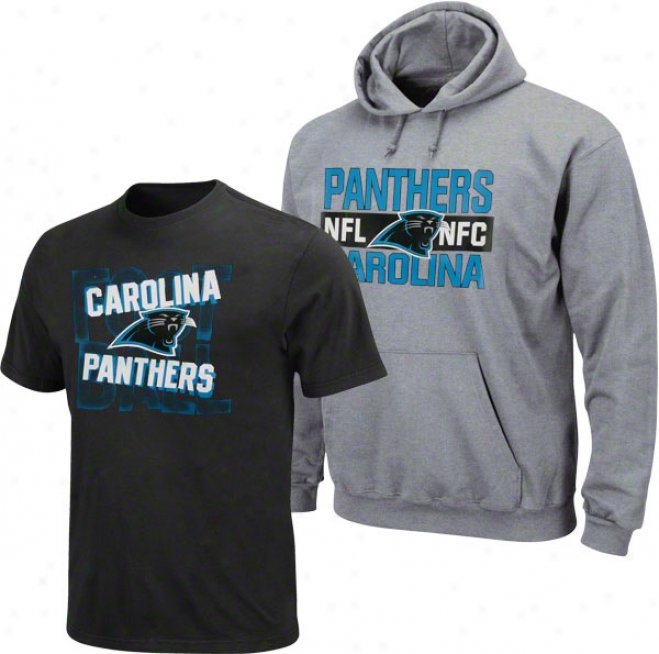 Carolina Panthers Juvenility Grey/electric Blue Hood & Tee Combo Pack