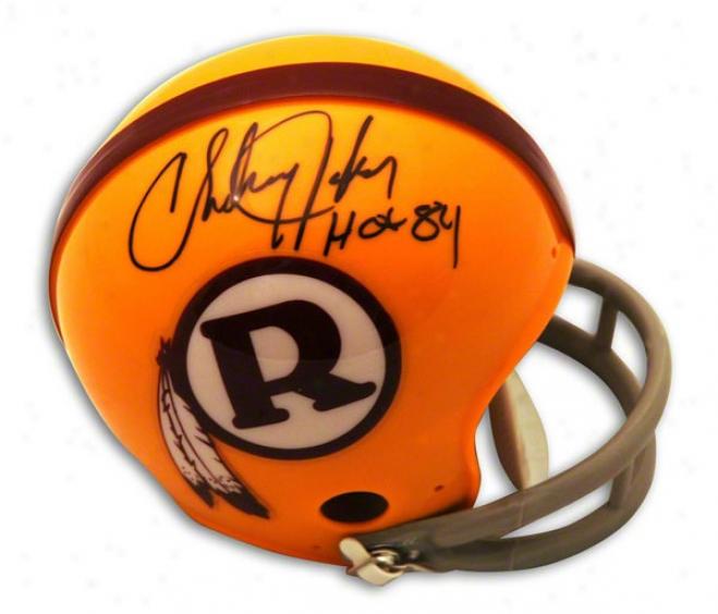 Charley Taylor Autographed Washington Reeskins Throwback Mini Helmet Inscribed Hof 84