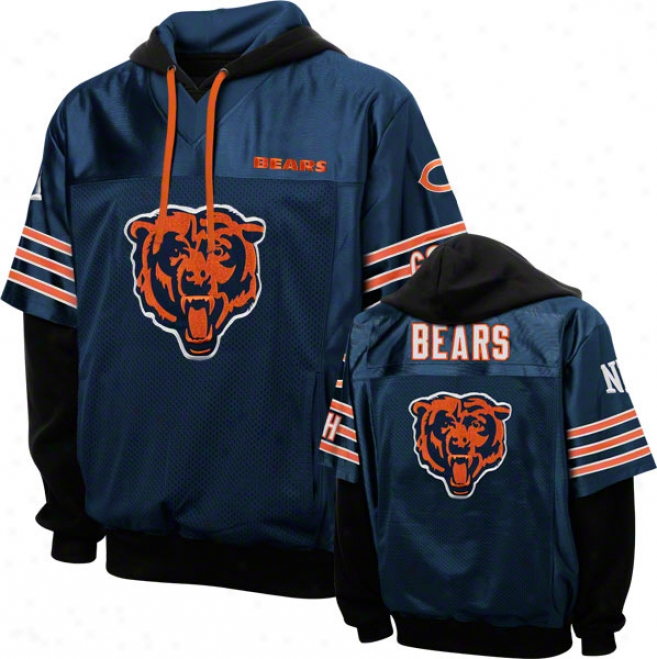 Chicago Bears Navy Grid Iron 2 Pullover Jersey Hoodie