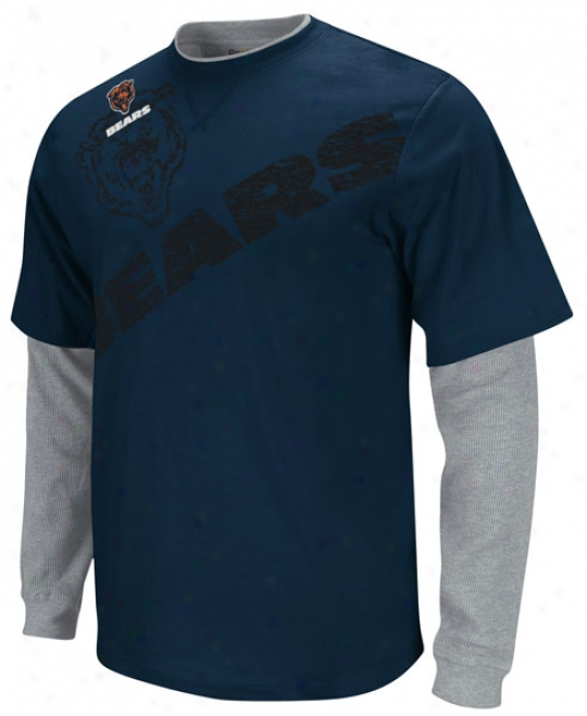Chicago Bears Navy Kid's 4-7 Touchdown Faux Layered Long Sleeve T-shirt