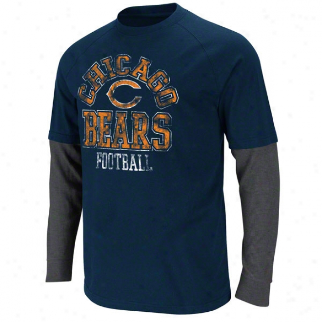 Chicago Bears Navy Read And React Two-fer T-shirt