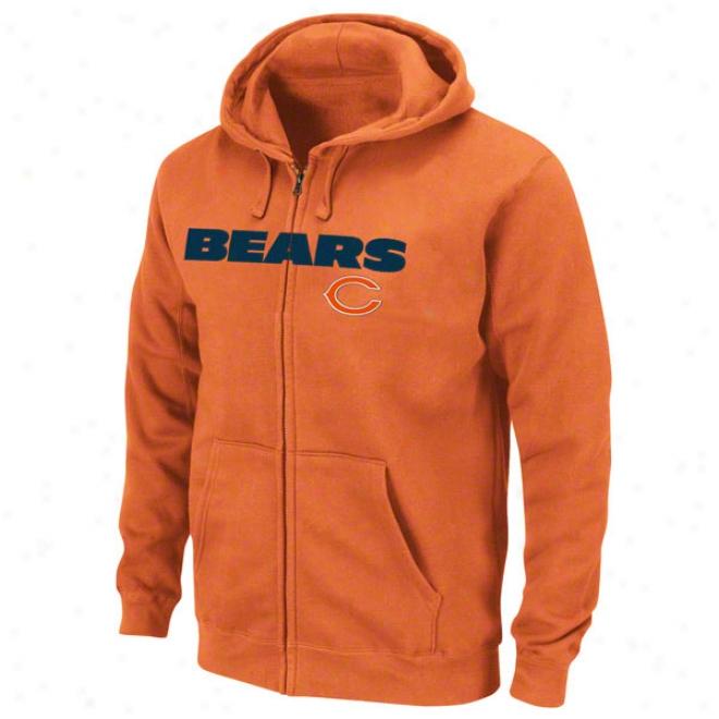 Chicago Bears Orange Classic Heavyweight Ii Full-zip Fleece Hooded Sweatshirt
