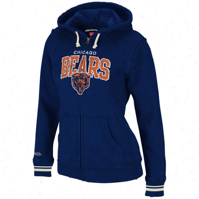 Chicago Bears Women's Mitchell & Ness Navy Arch Full-zip Hooded Fleece