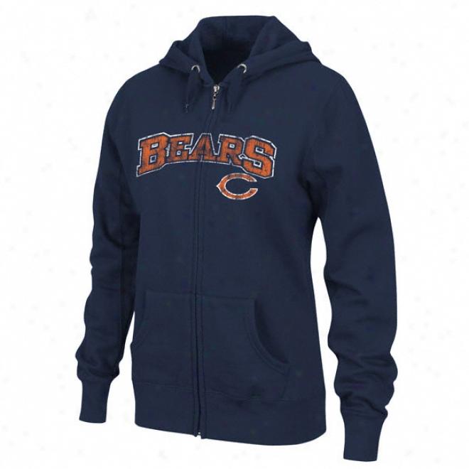 Chicago Bears Women's Navy Football Classic Ii Full-zip Hooded Sweatshirt