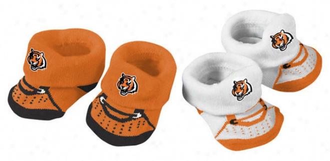 Cincinnati Bengals Newborn 2-pair Bootie Set