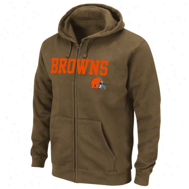 Cleveland Browns Brown Classic Heavyweight Ii Full-zip Fleece Hooded Sweatshirt