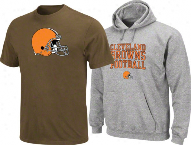 Cleveland Browns Browm T-shirt And Steel Hooded Sweatshirt Combo Pack