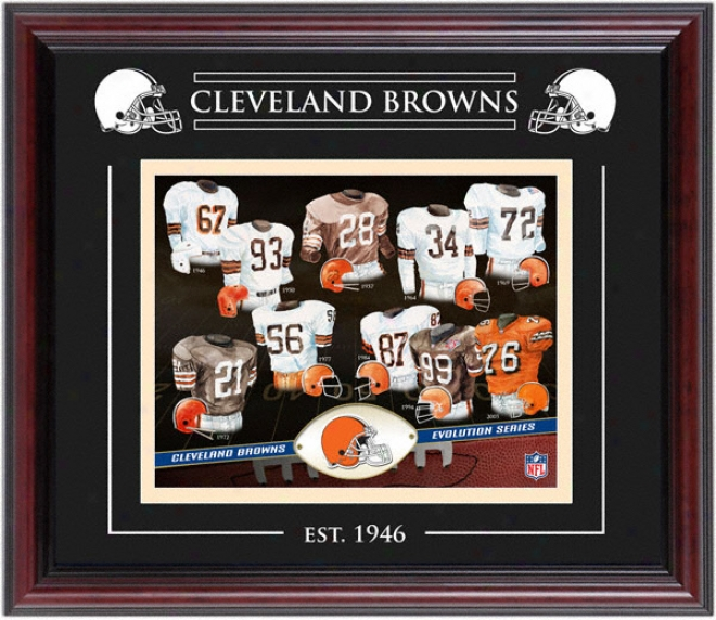 Cleveland Browns - Evolution - Framed 8x10 Collage With Laser Etching