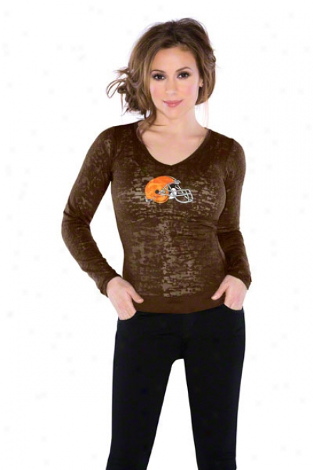 Cleveland Browns Women's Burnout Team Long Sleeve Thermal - By Alyssa Milano
