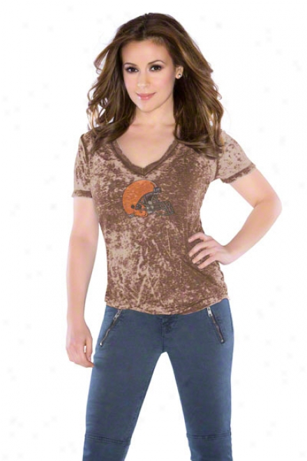 Cleveland Browns Women's Fade Route Crystals V-neck T-shirt - By Alyssa Milano
