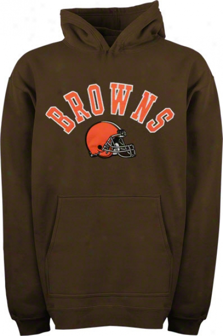 Cleveland Browns Youth Brown Arched Team Appellation W/logo Hooded Sweatshirt