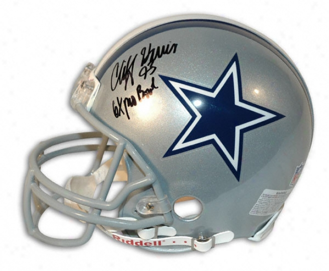 Cliff Harris Autographed Pro-line Helmet  Ddtails: Dallas Cowboys, With &quot6x Pro Bowl&quot Inscription, Authentic Riddell Helmet