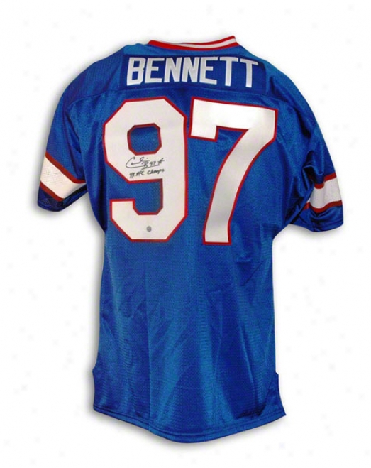 Cornelius Bennett Buffalo Bills Autographed Throwback Jersey Inscribed 4x Afc Champs
