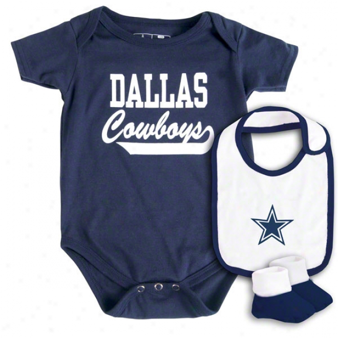 Dallax Cowboys Newborn Navy Monkey Bars Creeper, Bib, & Bootie Attitude