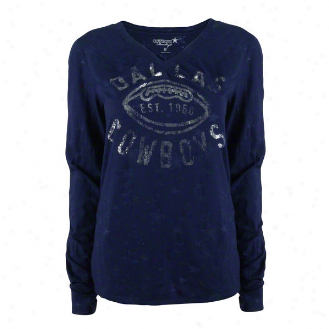 Dallas Cowboys Women's Navy Francis Long Sleeve V-neck Burnout Tee
