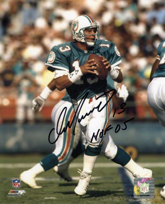 Dan Marino Autographed 8x10 Photograph  Details: Miami Dolphins, Sur~ly, With &quothof 05&quot Inscrription
