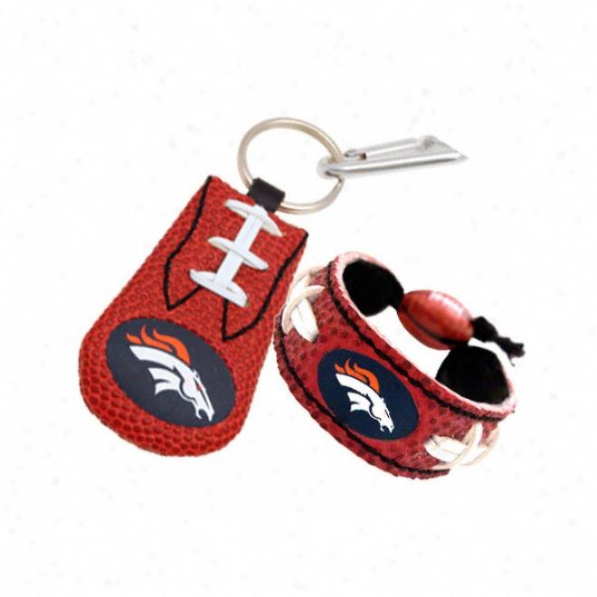 Denver Broncos Bracelet & Keychain Set