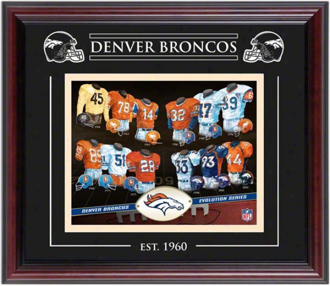 Denver Broncos - Evolution - Framed 8x10 Collage With Laser Etching