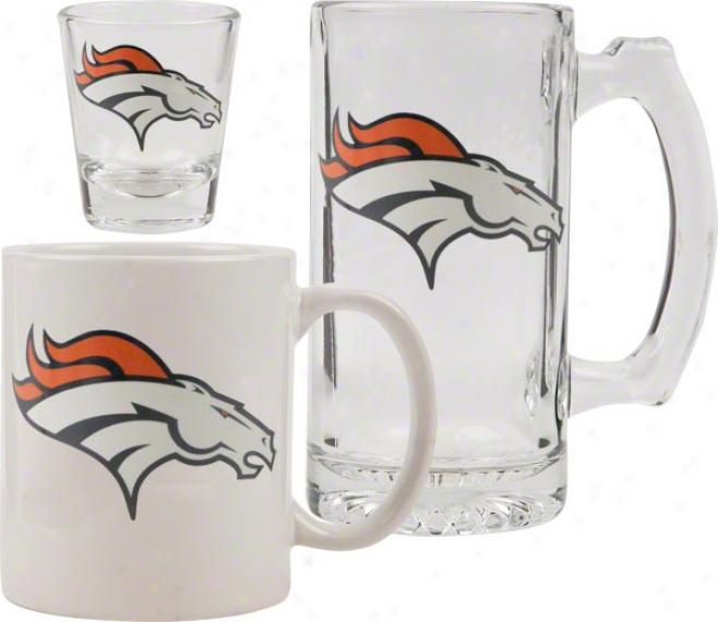 Denver Broncos Glassware Set: Logo Tankard, Coffee Mug, Shot Glass