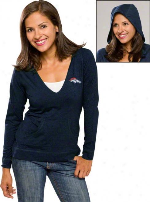 Denver Broncos Navy Womrn's Social Long Sleeve Hooded Shirt