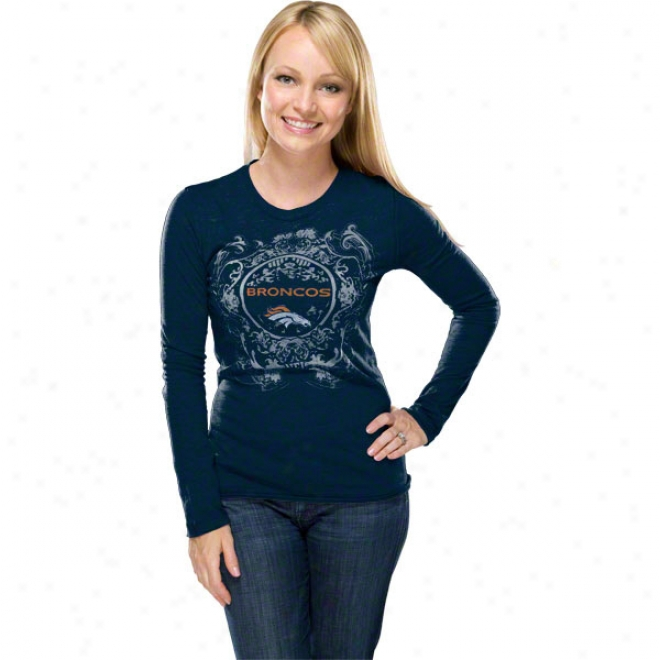 Denver Broncos Wommen's Coin Toss Navy Long Sleeve Top