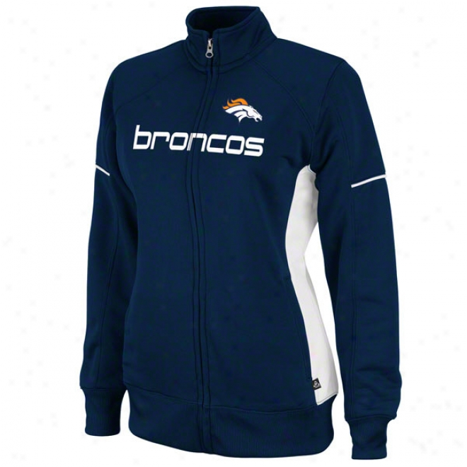 Denver Broncos Women's Counter Navy Full-zip Track Jacket