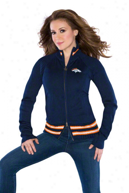 Denver Broncos Women's Full-zip Sweater Mix Jacket - By Alyssa Milano