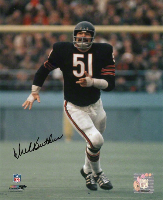 Dick Butkus Chicago Bears - Running In Azure Jersey - 8x10 Autographed Photograph