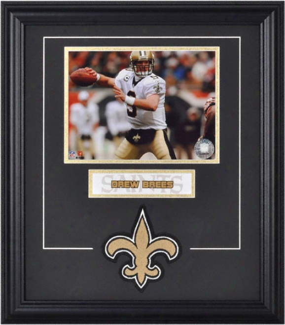 Drew Brees Framed 6x8 Photograph Through  Team Logo & Plate