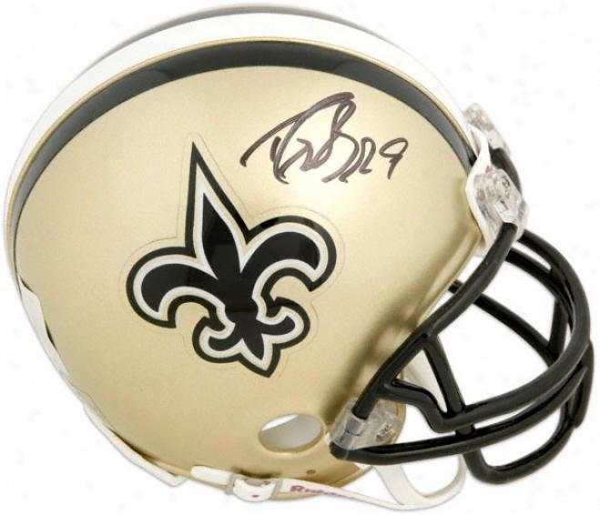 Drew Brees - Half New Orleans Saints And Half Super Bowl Xliv Logo - Autographed Mini Helmet