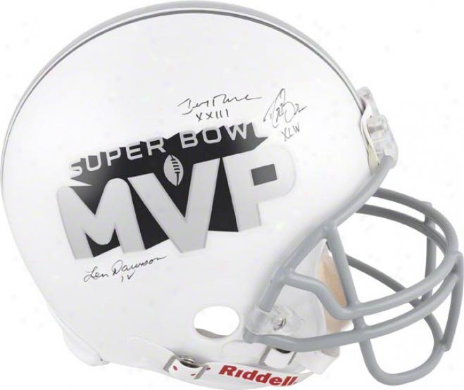 Drew Brees, Len Dawson, And Jerry Rice Autographed Helmet  Details: Super Bowl Mvps