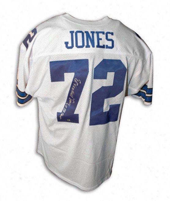 Ed ''too Tall'' Jones Autographed White Throwback Jersey With ''sb Xxii Champs'' Inscription